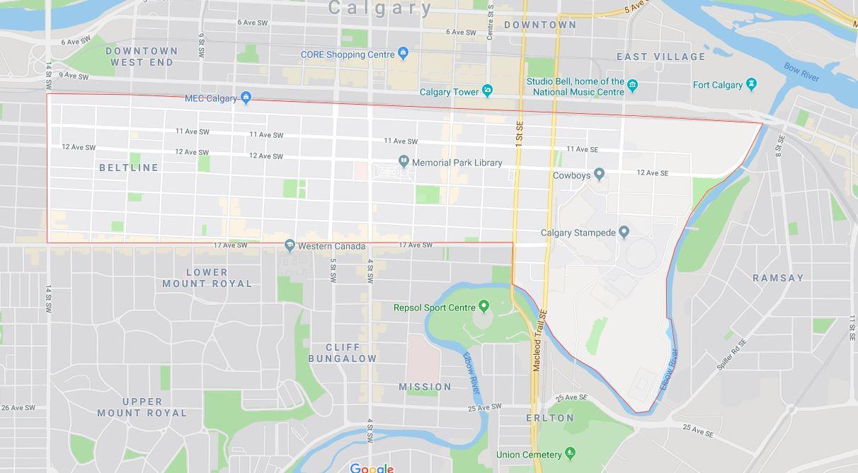 Google Map of Beltline, Calgary, AB