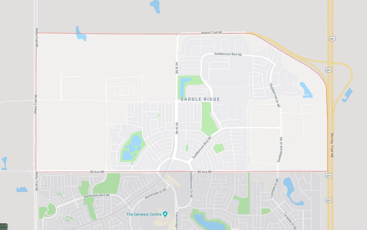 Google Map of Saddle_Ridge, Calgary, AB