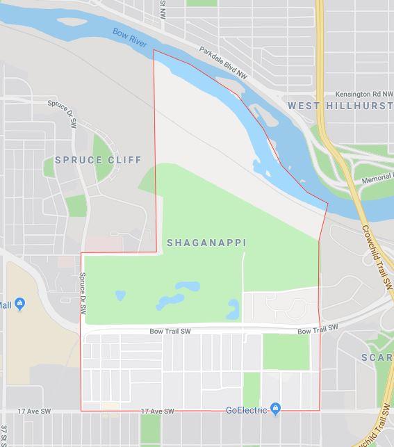 Google Map of Shaganappi, Calgary, AB