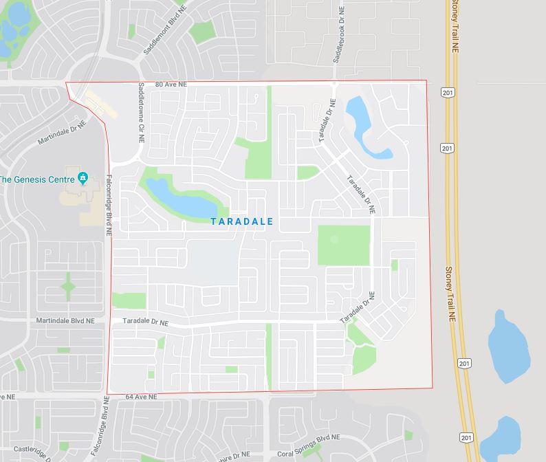 Google Map of Taradale, Calgary, AB