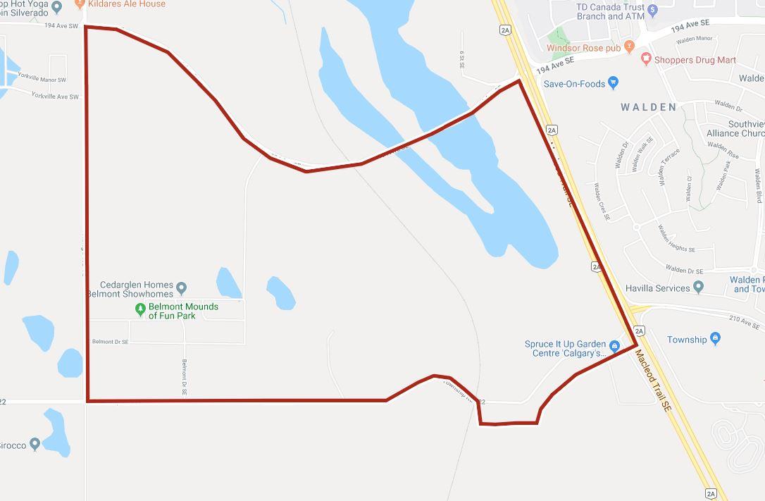 Google Map of Belmont, Calgary, AB